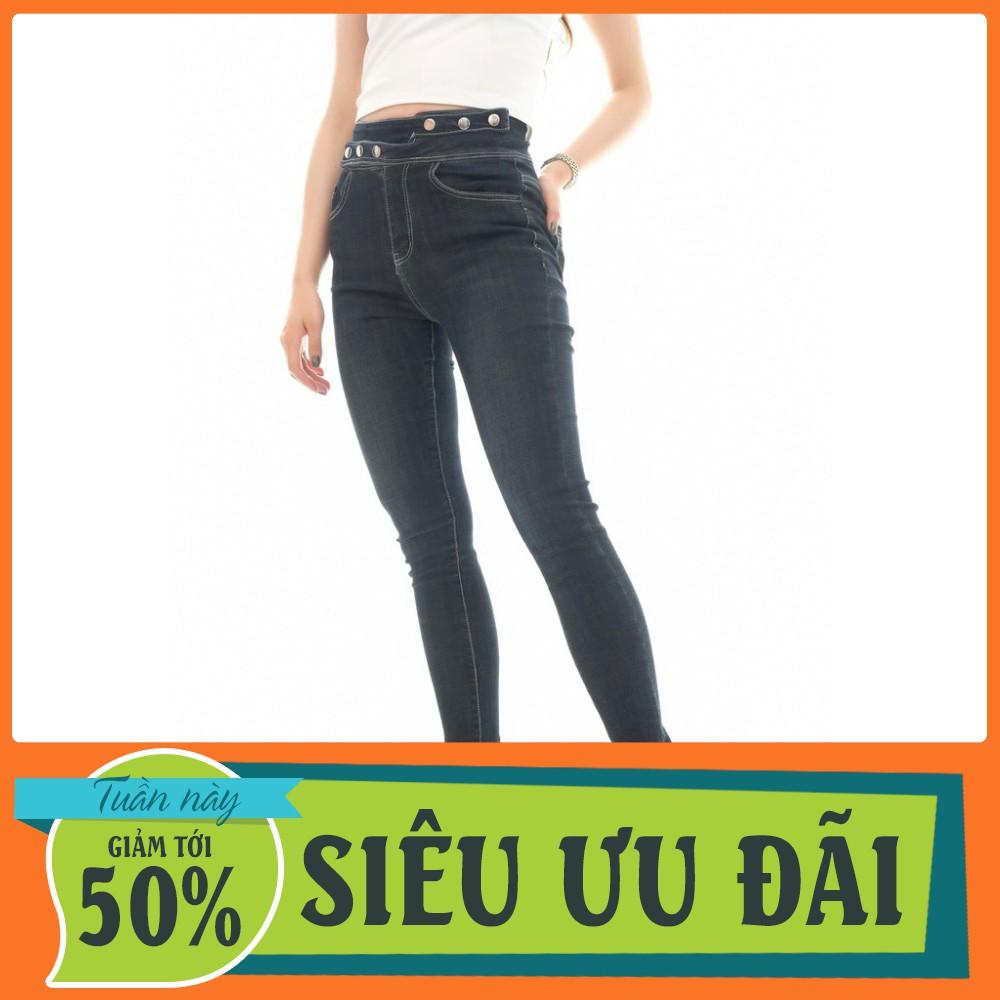 [ SALE KHỦNG ] Quần jean nữ skinny cạp dây đính cúc đen D6839