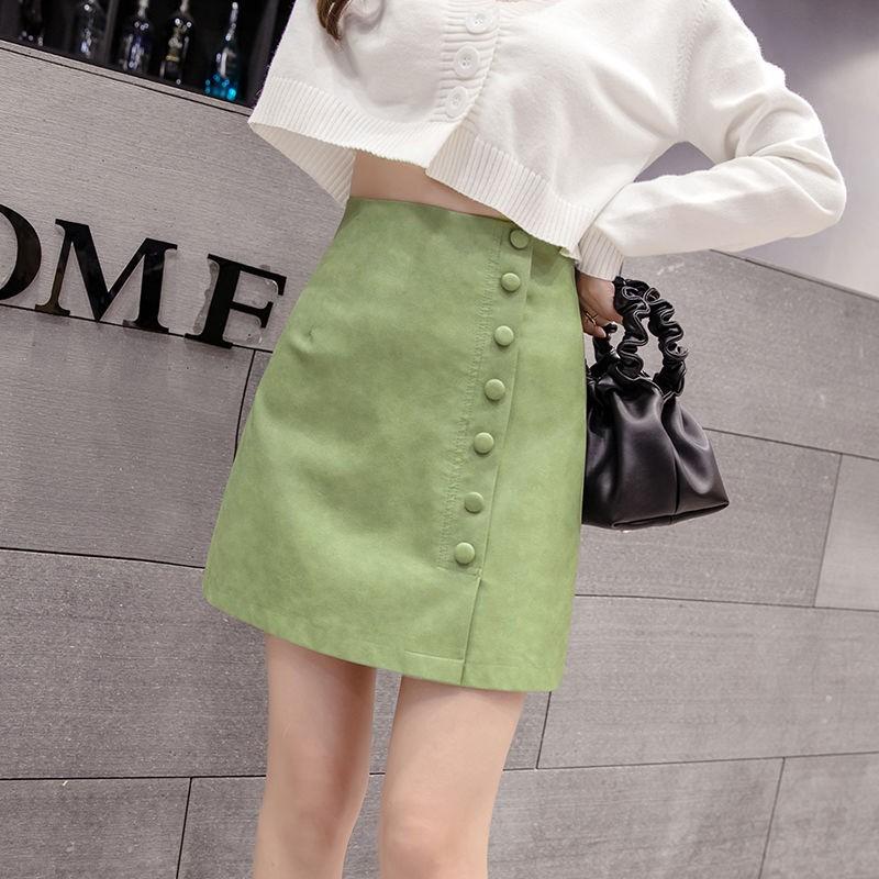 Chân Váy Da Pu Lưng Cao Dáng Chữ A Phong Cách Thời Trang Hong Kong