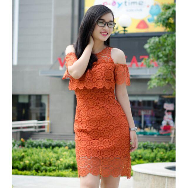 Đầm ren thiết kế màu cam đất #đầm #ren