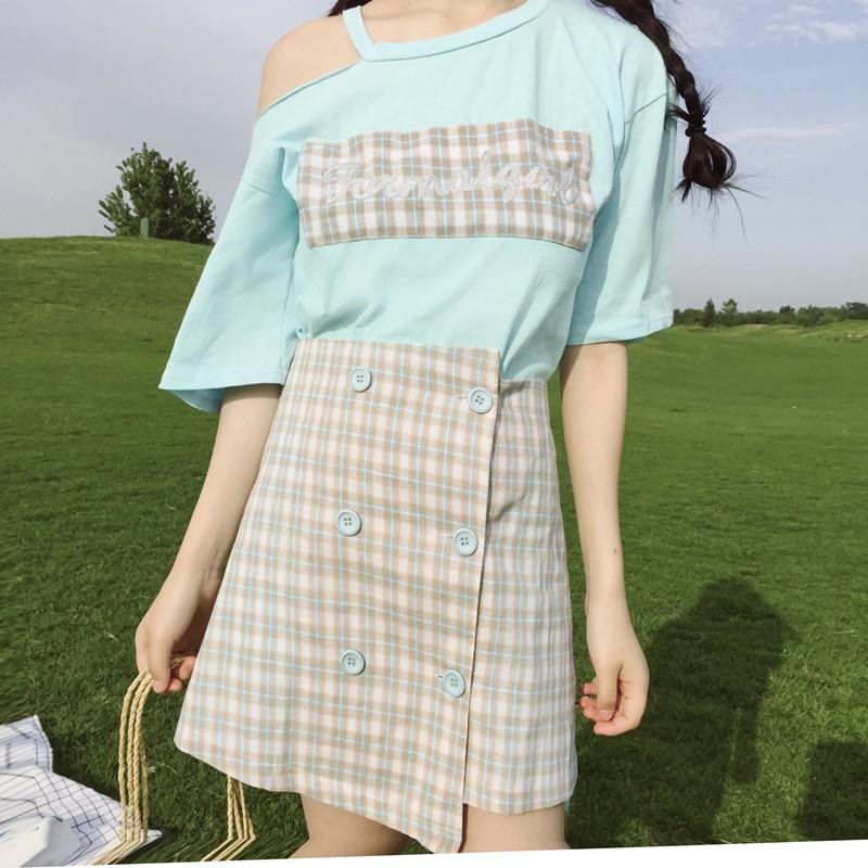 Set Áo Tay Lỡ Hở Vai + Chân Váy Sọc Ca Rô Thời Trang Cho Nữ