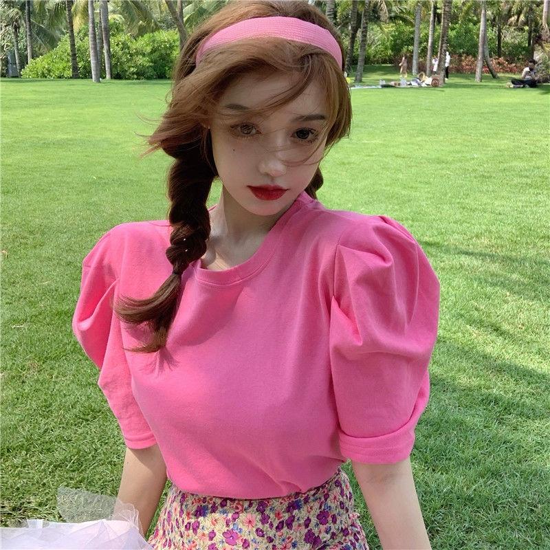 Set Áo Thun Tay Phồng + Chân Váy Hoa Thời Trang Nữ Tính