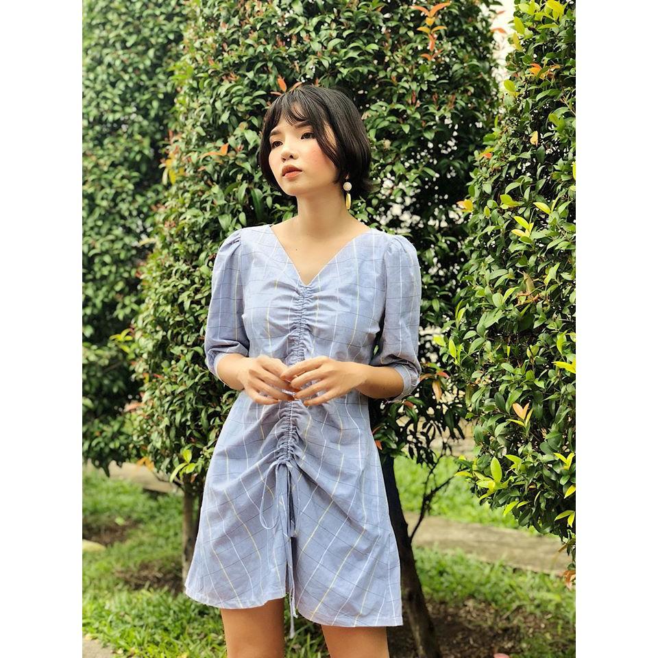 [Thanh lý đầm đẹp giá rẻ] Đầm xanh kẻ Lani Dress của Rechic - New 95% Size M