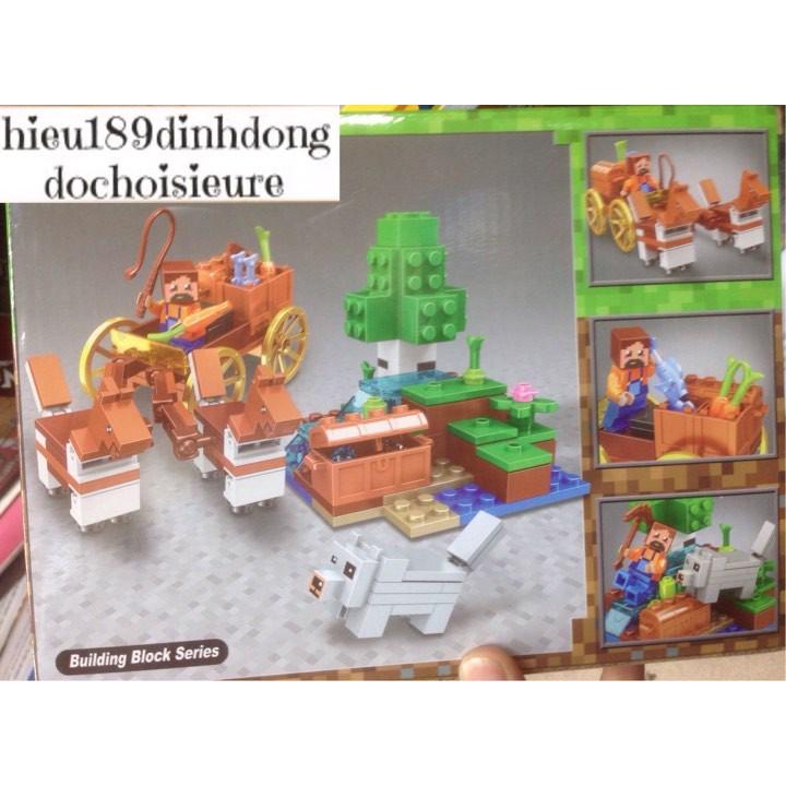 Lắp ráp xếp hình lego minecraft my world 11130: Xe ngựa đôi vận chuyển kho báu (ảnh thật)