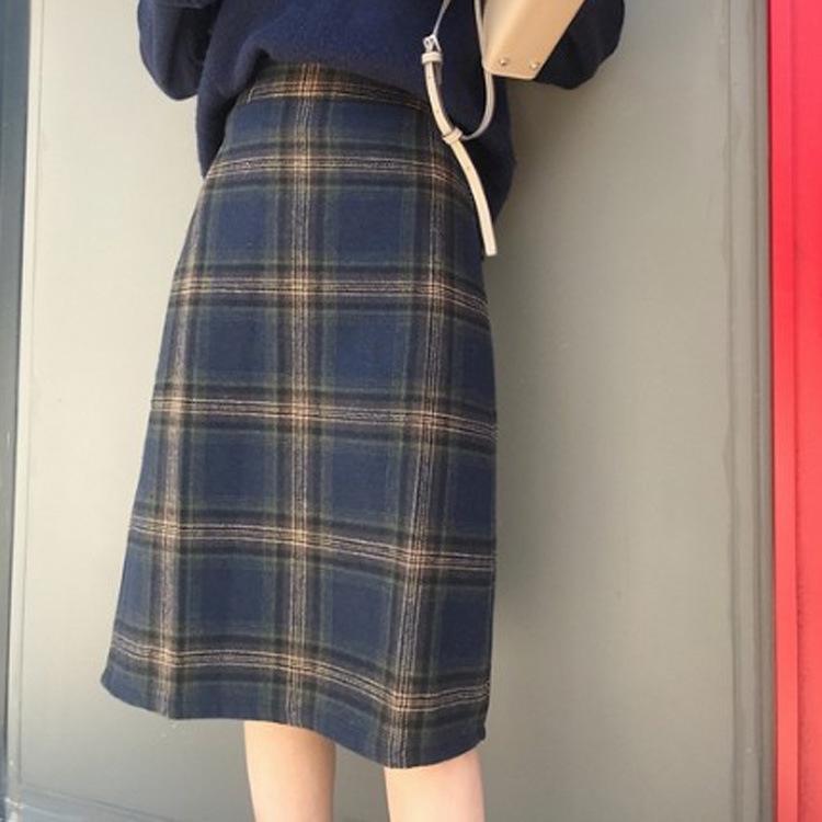 Chân Váy Len Lưng Cao Họa Tiết Sọc Caro Phong Cách Retro Hàn Quốc