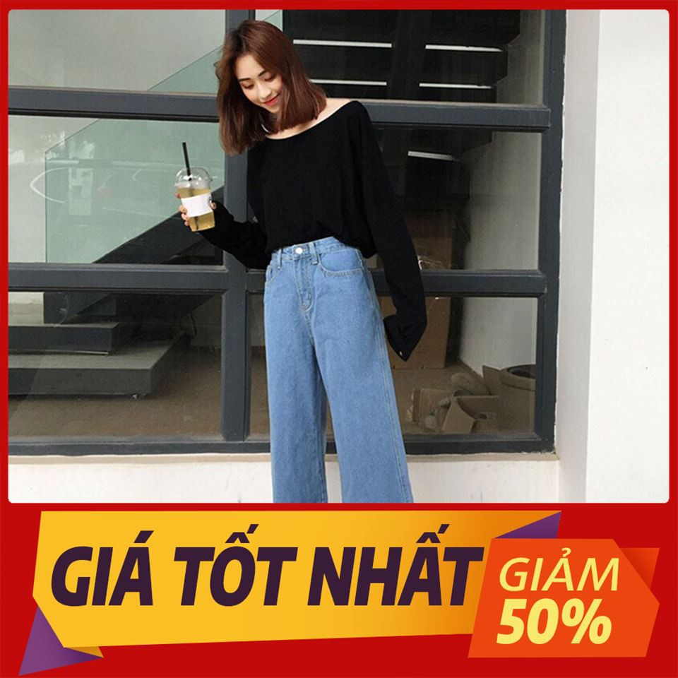 [ Sale Off ] Quần Jean Ống Rộng Nữ Rách Gấu hàng đẹp thời trang owen