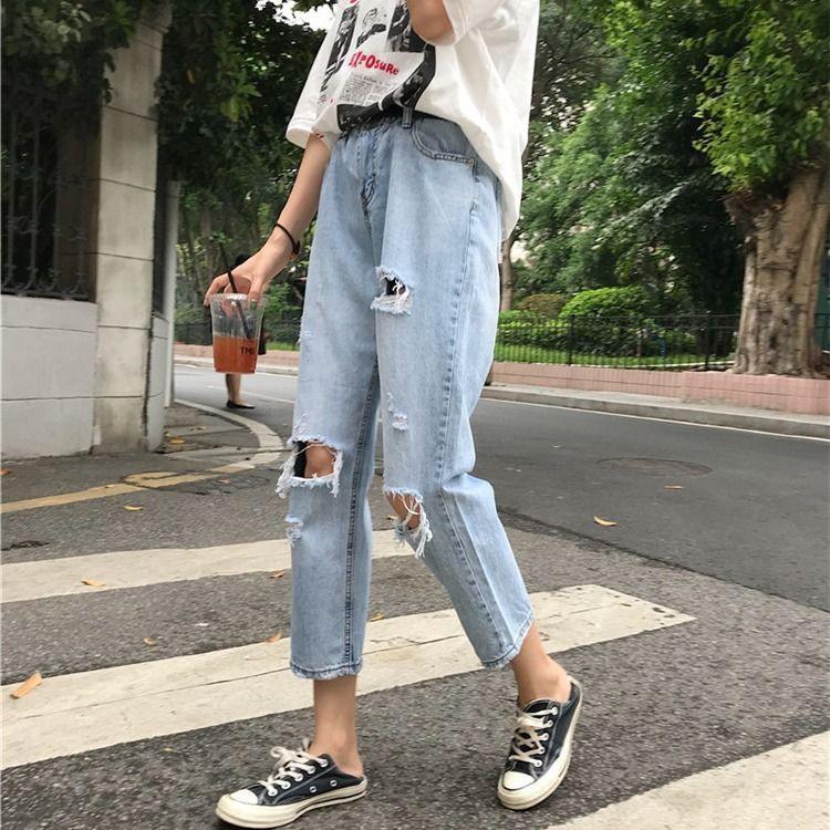 Quần jeans lưng cao phong cách hàn quốc năng động cho nữ