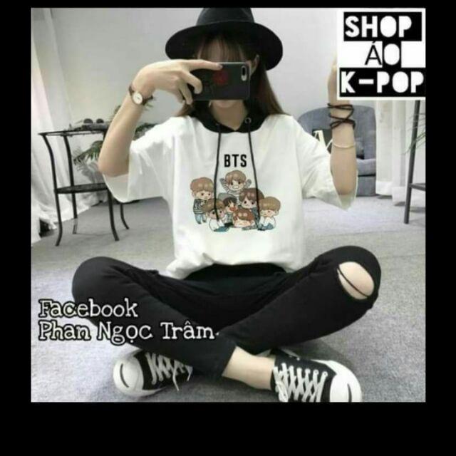 Áo hoodie hè phối mũ BTS in theo yêu cầu