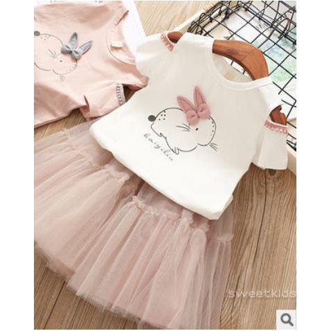 Set bộ áo thun + chân váy xòe cho bé sơ sinh