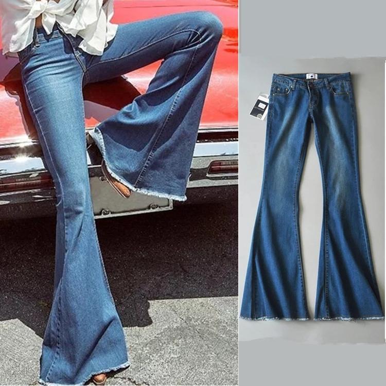 Quần Jeans Ống Loe Chất Liệu Co Giãn Tôn Dáng Cho Nữ