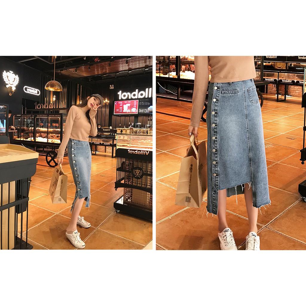 Chân váy jean kiểu rách xẻ tà xinh xắn cá tính phong cách hàn quốc