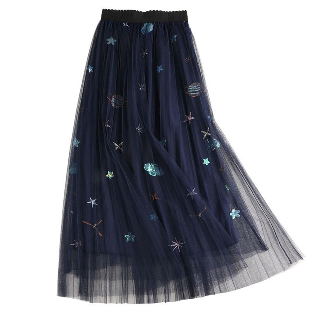 Chân váy lưng cao phối lưới hoạ tiết thêu thời trang mùa xuân cho phái nữ