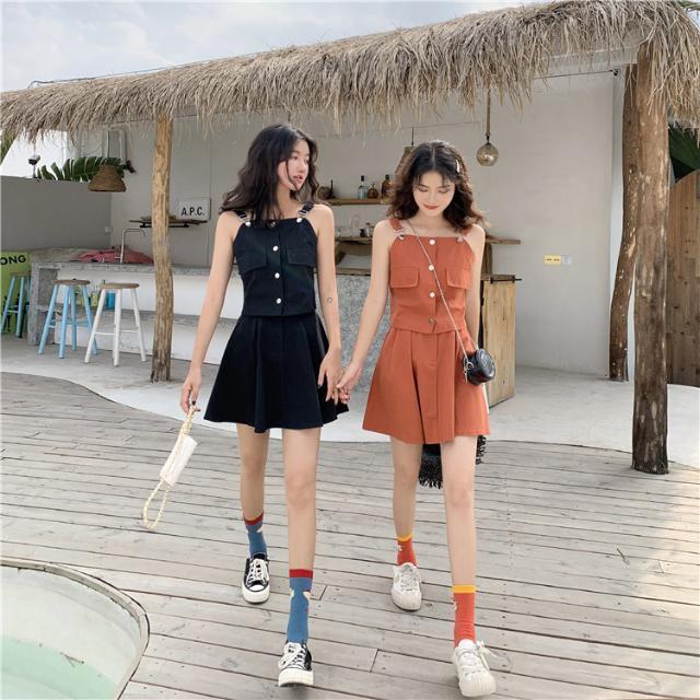Set Áo Thun Ngắn Tay + Chân Váy Dài Xinh Xắn Thời Trang Cho Nữ