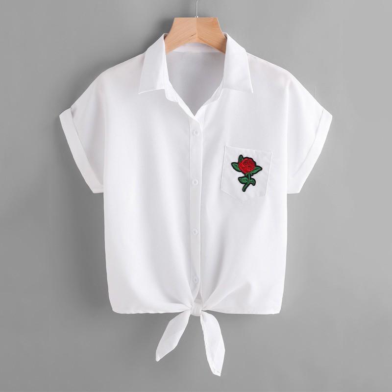 FREESHIP ĐƠN 99K_ Áo sơ mi tay ngắn có dây cột nơ họa tiết hoa hồng thời trang cho nữ