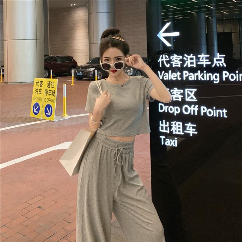 Set áo thun ngắn tay+quần dài lưng thun ống rộng phong cách thoải mái cho nữ