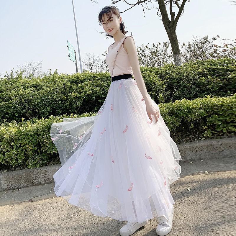Chân Váy Lưới Xếp Ly Thêu Họa Tiết Xinh Xắn Thời Trang Mùa Xuân Cho Nữ