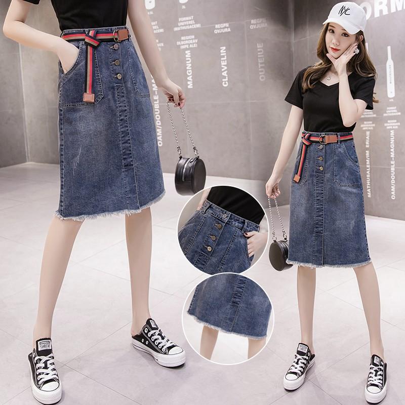 Chân Váy Denim Dài Lưng Cao Size S-2xl Thời Trang Cho Nữ