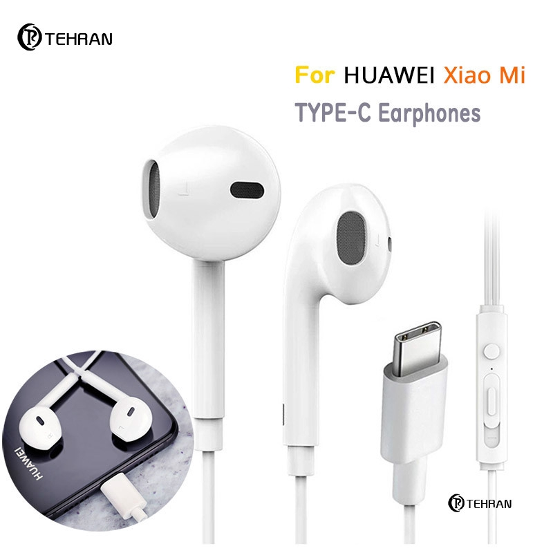 Type-c Earphones For Huawei Headset Xiaomi Earphone in Ear USB Type C with Mic Wired Control Gaming Headset Earpiece