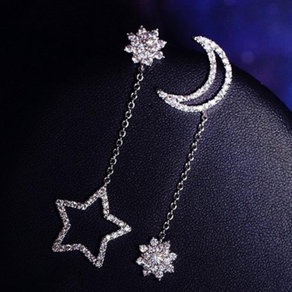 Bông tai dáng dài hìn mặt trăng và ngôi sao