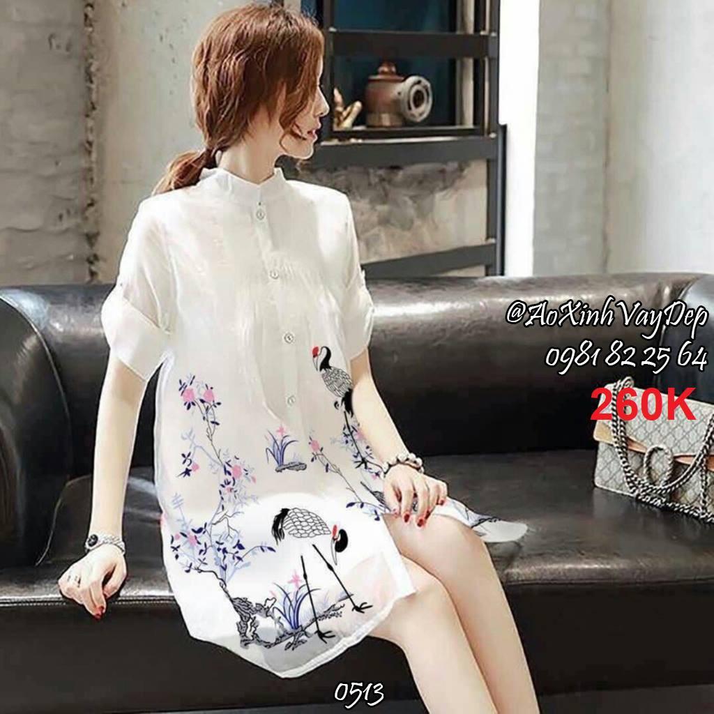 Đầm suông form rộng in hạc kèm đầm lót (1 màu)