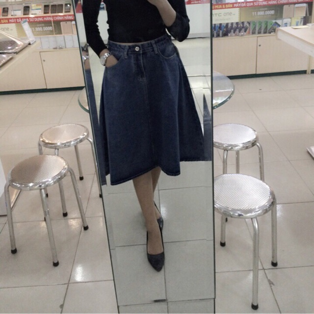 Chân váy jean áo thun quần jean