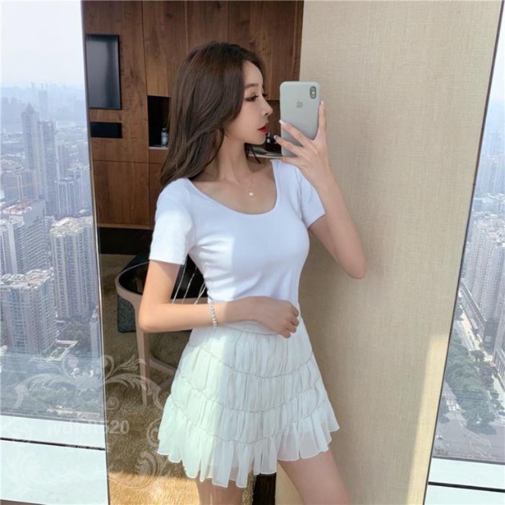Set Áo Thun Hở Lưng + Chân Váy Chiffon Đính Đá Thời Trang Cho Nữ