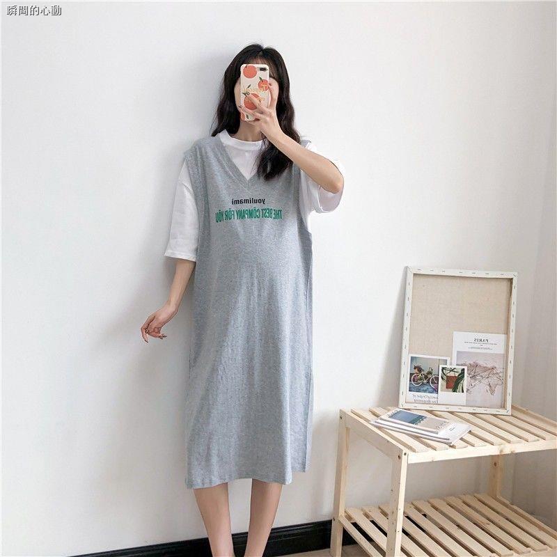 Set Áo Thun Tay Ngắn Giả Hai Lớp + Chân Váy Thời Trang 2020 Cho Mẹ Bầu
