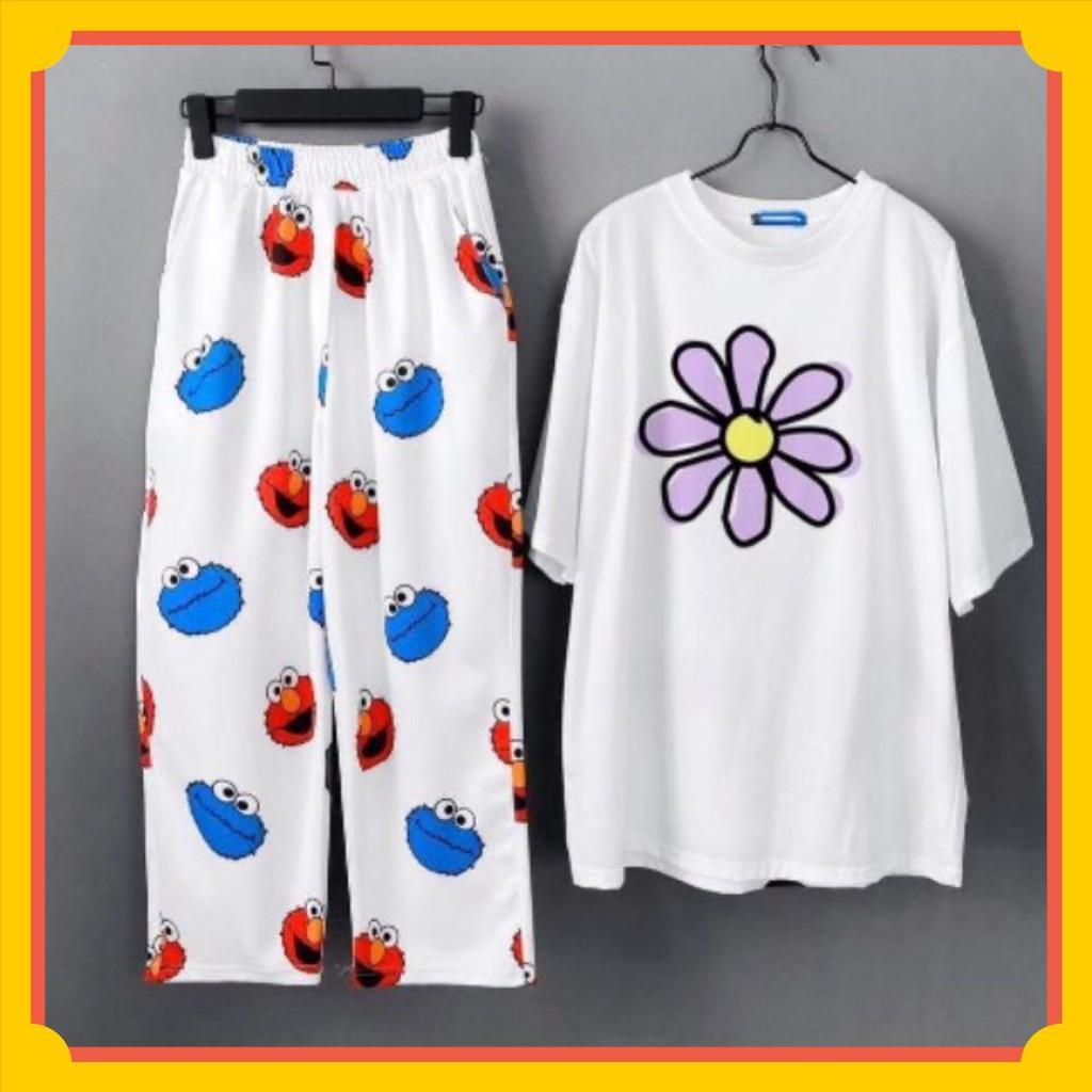 Sét bộ áo thun hoa + quần ống rộng