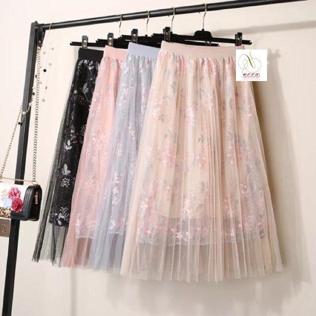 [FREESHIP 50K] Chân váy maxi voan lưới thêu hoa sang chảnh loại 1 (sẵn hàng)