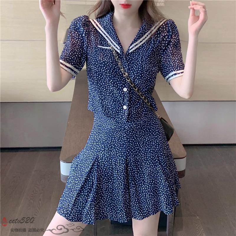 Set Áo Sơ Mi Họa Tiết Chấm Bi Phối Chân Váy Thời Trang Cho Nữ