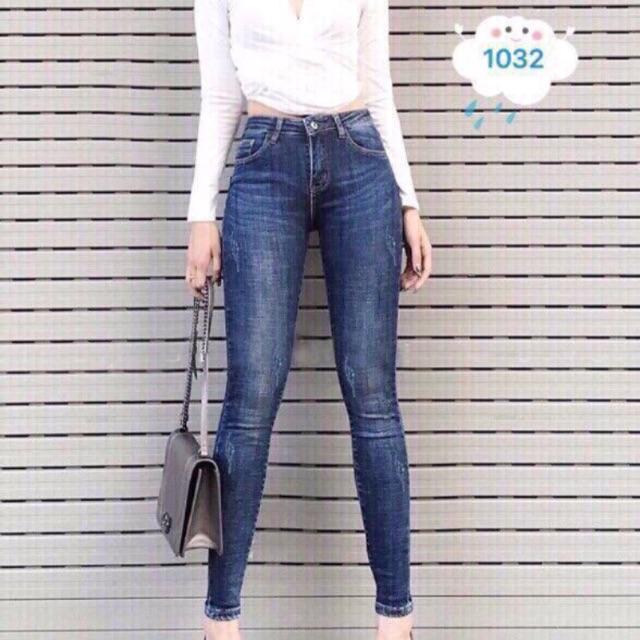 Quần jean nữ xanh trơn MS 1032