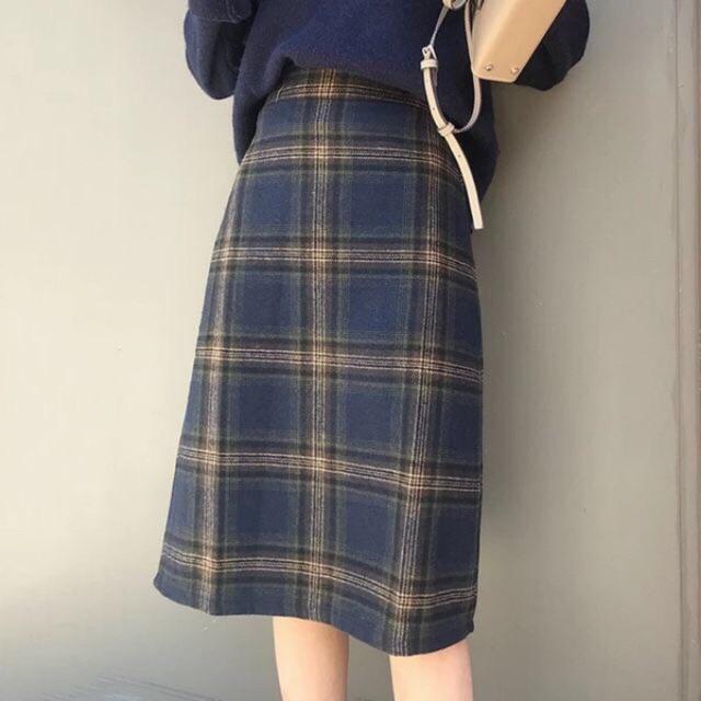 [FS]Chân váy dạ kẻ dài