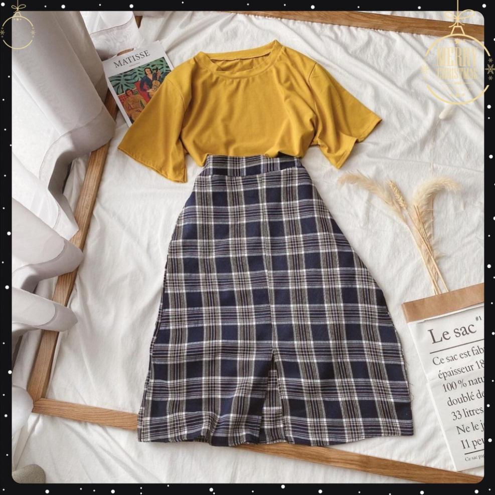 [SALE] [ẢNH THẬT+VIDEO] Set Áo Phông Mix Chân Váy Kẻ Caro Dáng Dài Xinh Xắn Mã OH67