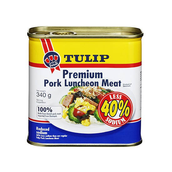 Thịt Hộp Tulip Pork Luncheon Meat 40% Less Sodium 340g