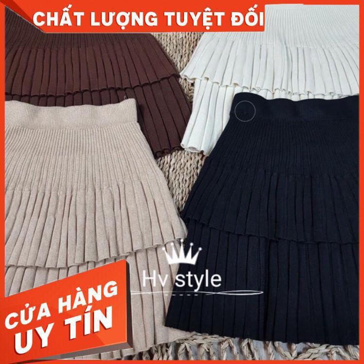 [Rẻ Sập Sàn] Chân Váy Len Dập Ly Hai Tầng LN29 hottrend