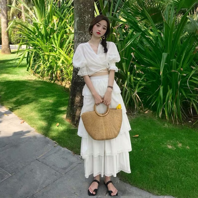 Set áo croptop + chân váy tầng dài Ulzzang _NAI003