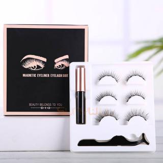 3 Pairs Magnetic Eyelashes Set Natural long 3D Faux Magnet Eye Lashes Easy to Wear Soft Mink Lashes False Bulu Mata for Eyelash Extension
