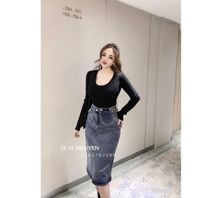 Chân váy jean kèm túi hàng Xịn chuẩn mẫu mặc