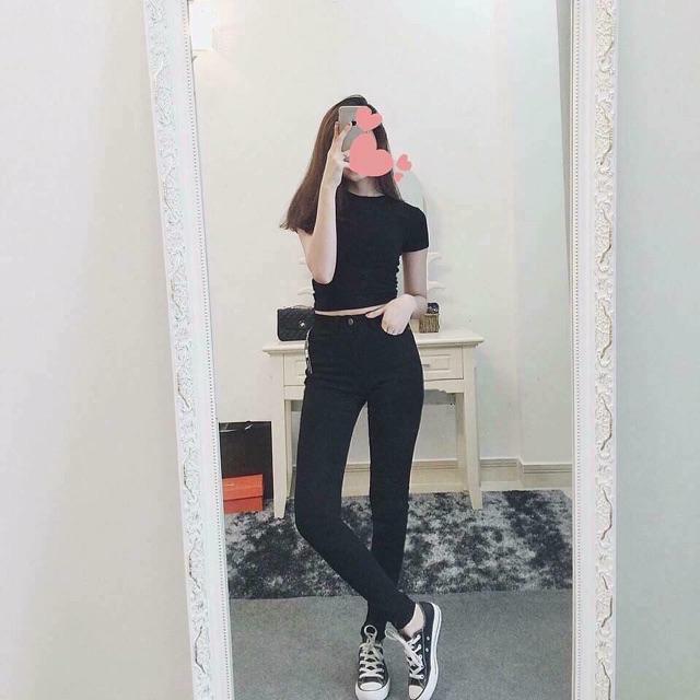 Quần jeans đen trơn