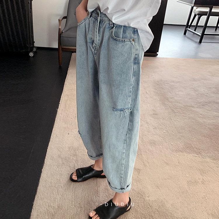 quần jean nữ lưng cao rách gối