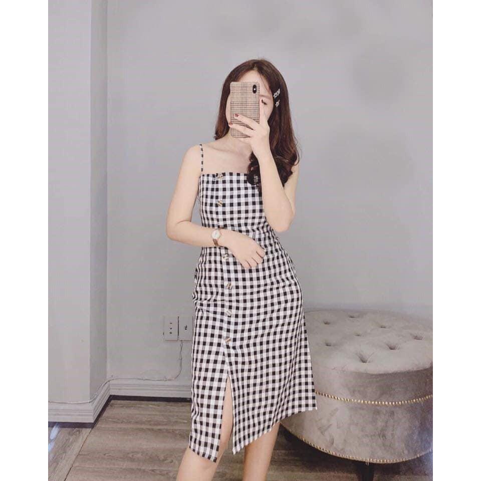 Đầm Suông 2 Dây Caro Xẻ Tà Phối Nút Sexy Tôn Dáng