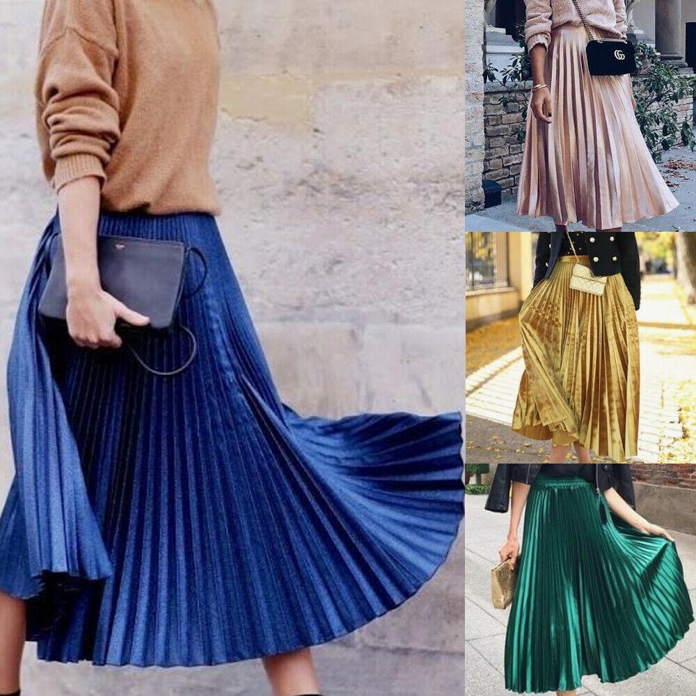 Chân váy dài lưng thun co giãn phong cách vintage