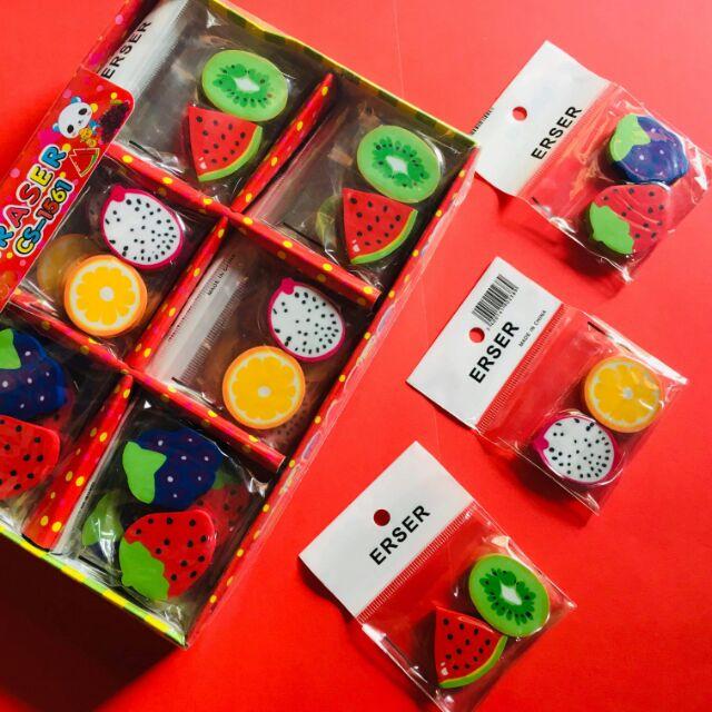 Gói 2 tẩy bút chì hình hoa quả siêu kute