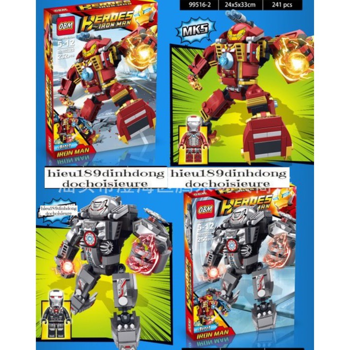 Lắp ráp xếp hình Lego siêu anh hùng 99516 : Bộ giáp hulkbuster của người sắt (4in1) 950+ mảnh