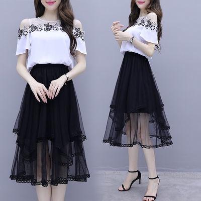 Set Áo Thun Trễ Vai + Chân Váy Thời Trang Mẫu 2020 Thời Trang Dành Cho Nữ