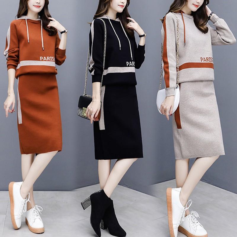 Set Áo Hoodie Dáng Rộng Phối Chân Váy Thời Trang Hàn Quốc Cho Nữ