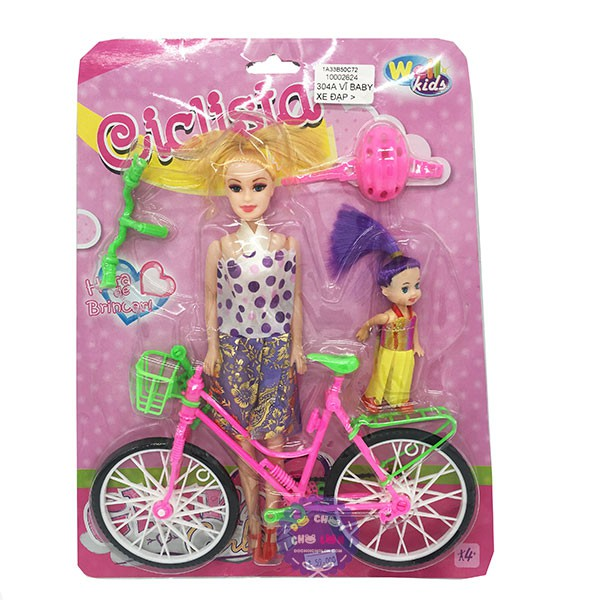 Vỉ đồ chơi búp bê đạp xe đạp & búp bê nhí