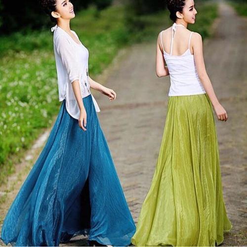 Chân Váy Voan Dáng Xòe Thời Trang Đi Biển Thanh Lịch Cho Nữ