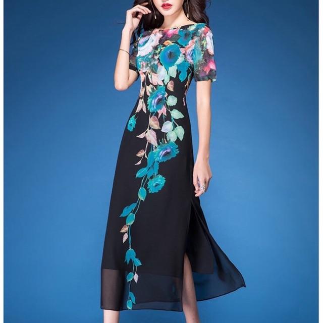 Đầm hao cách tân áo dài hàng nhập Quảng Châu cao cấp