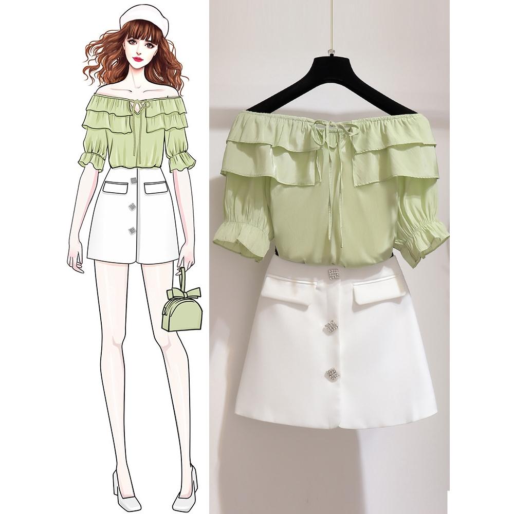Set Áo Thun Ngắn Tay + Chân Váy Ngắn Thời Trang Cho Nữ