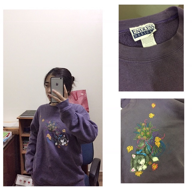 Áo Sweater 2hand hình con mèo vải Mỹ xịn